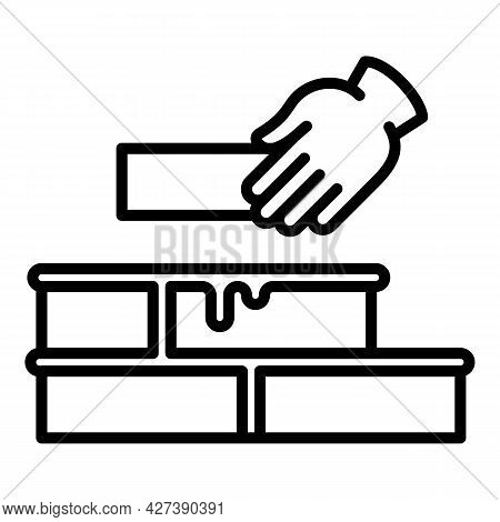 Making Brick Wall Icon. Outline Making Brick Wall Vector Icon For Web Design Isolated On White Backg