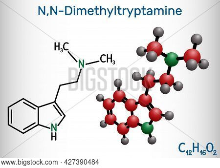 N,n-dimethyltryptamine, Dimethyltryptamine, Dmt Molecule. It Is Tryptamine Alkaloid, Indoleamine Der