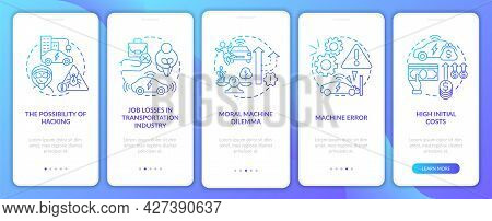 Machine Errors Onboarding Mobile App Page Screen. Artificial Intelligence Issue Walkthrough 5 Steps