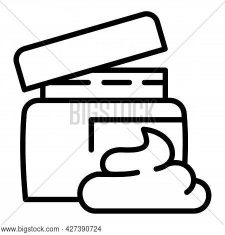 Sunscreen Cream Jar Icon. Outline Sunscreen Cream Jar Vector Icon For Web Design Isolated On White B