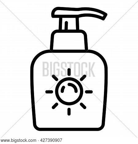 Sunscreen Cream Dispenser Icon. Outline Sunscreen Cream Dispenser Vector Icon For Web Design Isolate