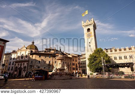 Trento, Italy, June 2021. Amazing Photograph At The Golden Hour Of The Main Square: In Evidence The