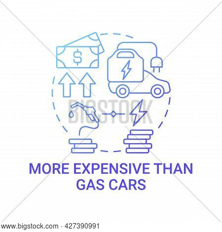 Hybrid Car Cost Difference Concept Icon. Electric Vehicle Expensive Maintenance Abstract Idea Thin L