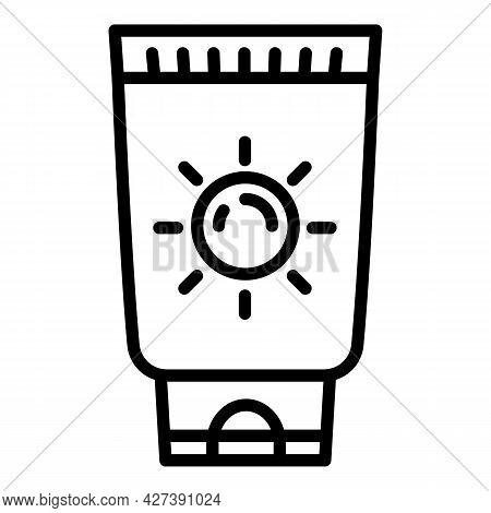 Uv Tube Cream Icon. Outline Uv Tube Cream Vector Icon For Web Design Isolated On White Background