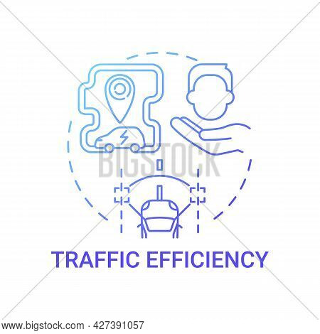 Eco-friendly Traffic Efficiency Concept Icon. Ev Comfort Using Abstract Idea Thin Line Illustration.