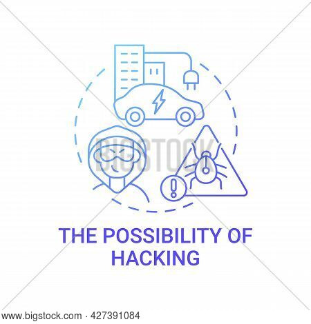 Ev Hacking Threat Concept Icon. Future Transport Enhancing Cybersecurity Systems Abstract Idea Thin