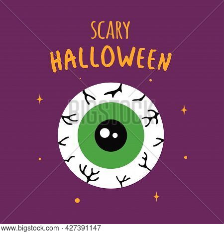 Halloween Card With Cartoon Zombie Eye Isolated On White, Scary Element For Invitation Or Greeting C