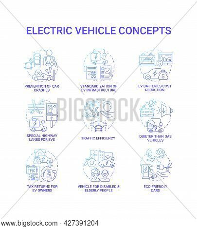 Ev Smart Solution Round Concept Icons Set. Hybrid Opportunities Abstract Idea Thin Line Color Illust
