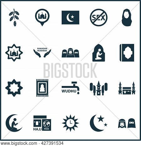 Religion Icons Set With People, Prayer, Azan And Other Hejaz Elements. Isolated Vector Illustration