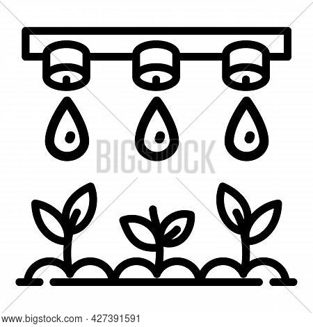 Smart Drop Irrigation Icon. Outline Smart Drop Irrigation Vector Icon For Web Design Isolated On Whi