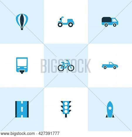 Transport Icons Colored Set With Pickup, Traffic Light, Road And Other Scooter Elements. Isolated Ve
