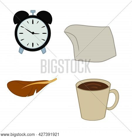 Several Items Isolated On White Background. Alarm Clock Pillow Feather Bird Coffee Cup. Vector Illus