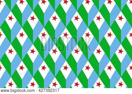Simple Geometric Pattern In The Colors Of The National Flag Of Djibouti