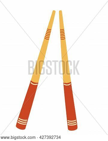 Sushi Sticks. Wooden Chopsticks. Asian Chopsticks Flat Icon For Food Apps And Websites. Concept Of S