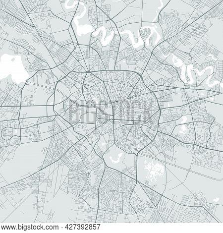 Urban City Map Of Bucharest. Vector Illustration, Bucharest Map Grayscale Art Poster. Street Map Ima