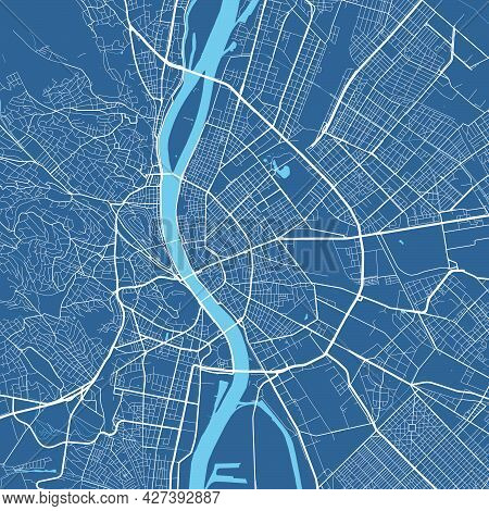 Detailed Map Poster Of Budapest City Administrative Area. Cityscape Panorama. Decorative Graphic Tou