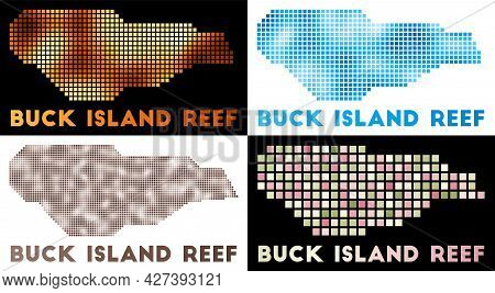 Buck Island Reef Map. Collection Of Map Of Buck Island Reef In Dotted Style. Borders Of The Island F