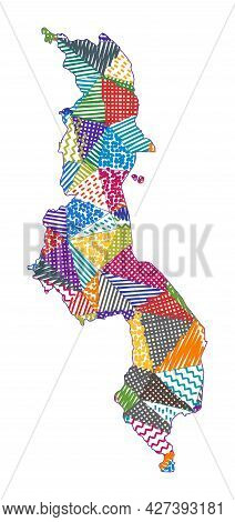 Kid Style Map Of Malawi. Hand Drawn Polygons In The Shape Of Malawi. Vector Illustration.