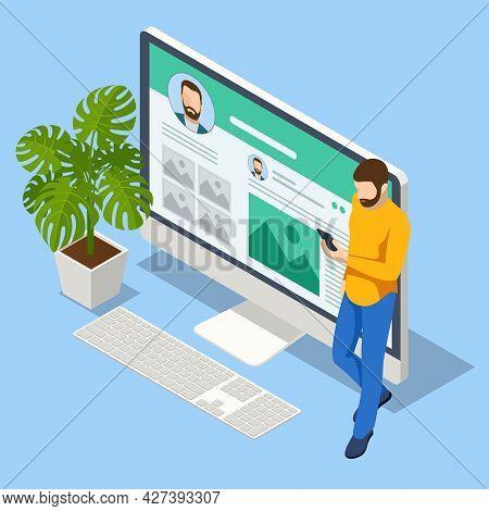Isometric Creative Blogging, Commercial Blog Posting, Copywriting, Journalist, Social Network. Vlogg
