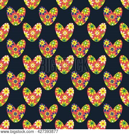 Seamless Colorful Love Heart Vector Pattern In Boho Style. Bright Flower Hearts On Black Backdrop. S