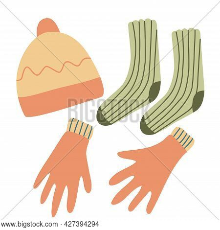 Winter Clothing Accessories. Gloves, Hat And Socks. Hand Drawn Flat Vector Illustration Isolated On