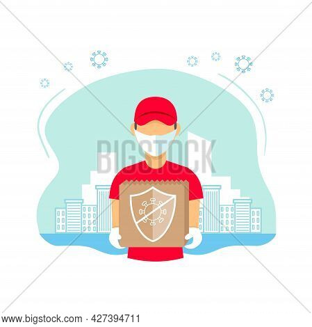 Safe Contactless Delivery Concept Illustration. Courier Wearing A Medical Mask And Gloves. Protectio