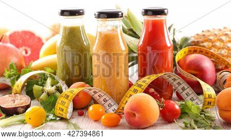 healthy fruit juice with fresh fruits