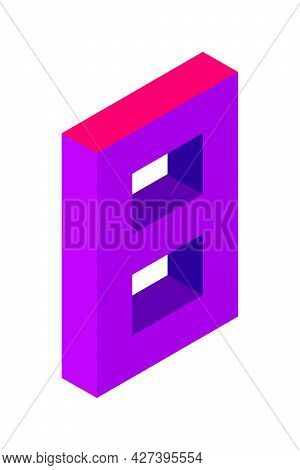 Purple Number 8 In Isometric Style. Isolated On Black Background. Learning Numbers, Serial Number, P