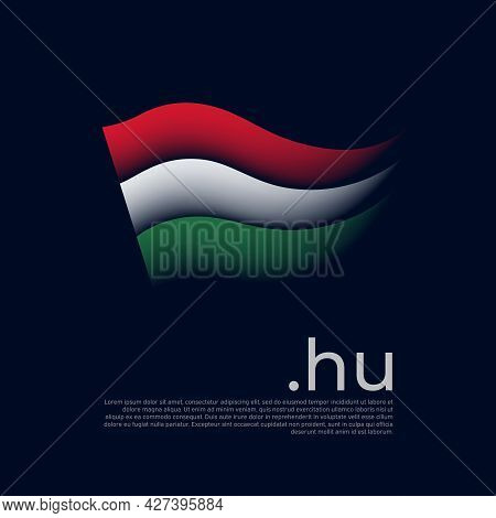 Hungary Flag. Stripes Colors Of The Hungarian Flag On A Dark Background. Vector Stylized Design Nati