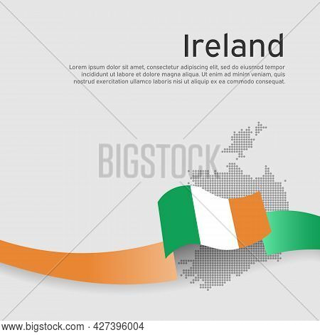 Republic Of Ireland Wavy Flag And Mosaic Map On White Background. State Irish Patriotic Banner, Cove
