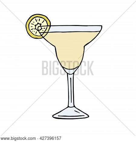 Vector Hand Drawn Doodle Sketch Colored Margarita Cocktail Isolated On White Background