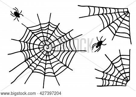Spiderweb Collection Isolated On White Background. Halloween Sign. Cobweb And Spider Set. Black And