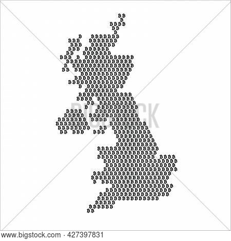 United Kingdom Country Map Made With Bitcoin Crypto Currency Logo