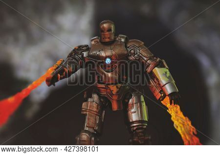 JULY 20 2021: Scene from Marvel Comics Iron Man, Mark 1 suit and flamethrowers - Hasbro action figure
