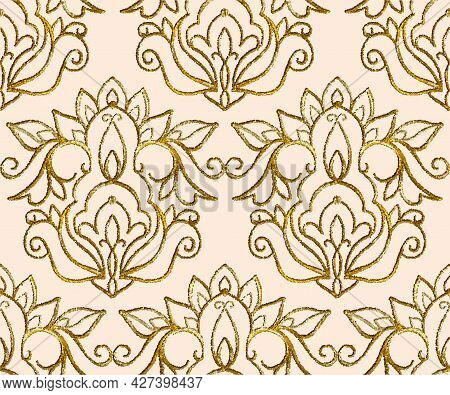 Gold Embroidery With Arabesques. Seamless Pattern. Hand-drawn Illustration.  Drawing With Dots. Vect