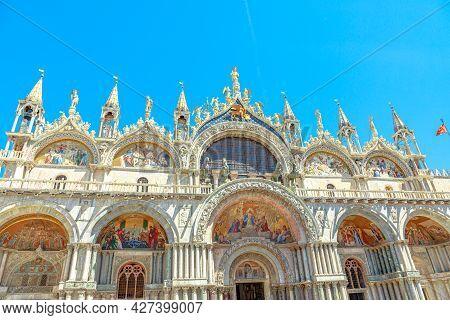 San Marco Basilica In Venice. The Main Italian Church Of The City, Located In Saint Mark Square, Pop