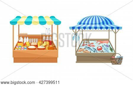 Street Market Stall And Stand With Awning And Various Products Like Seafood And Dairy Vector Set