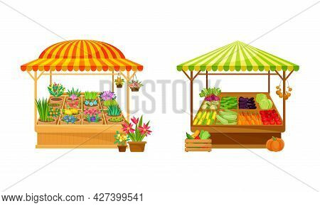 Street Market Stall And Stand With Awning And Various Products Like Vegetables And Flowers Vector Se