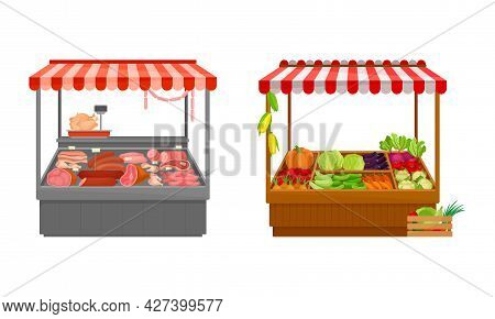 Street Market Stall And Stand With Awning And Various Products Like Meat And Vegetables Vector Set