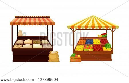 Street Market Stall And Stand With Awning And Various Products Like Fruit And Condiment Vector Set