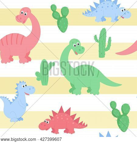 Dinosaurs Pattern With Cactuses On The Background Of Sand Stripes, Vector Illustration. Background W