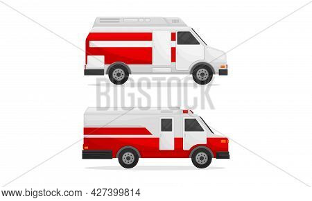 Ambulance Car With Red And White Colors As Medically Equipped Vehicle For Transporting Patients Vect