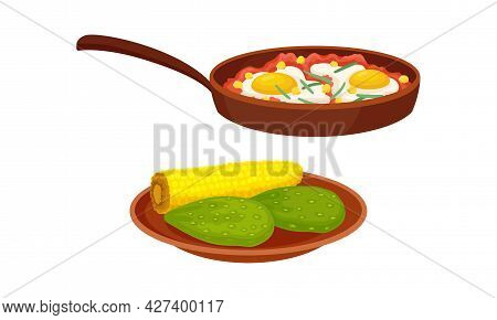 Corn Cob And Avocado With Frying Pan And Scrambled Eggs Vector Set