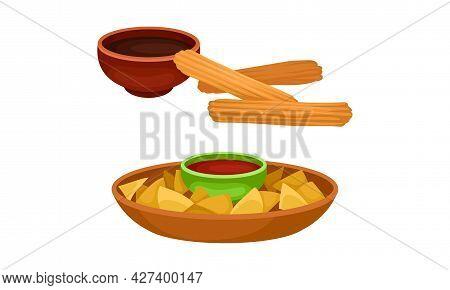 Nacho With Sauce And Churro Fried Dough Dessert Vector Set