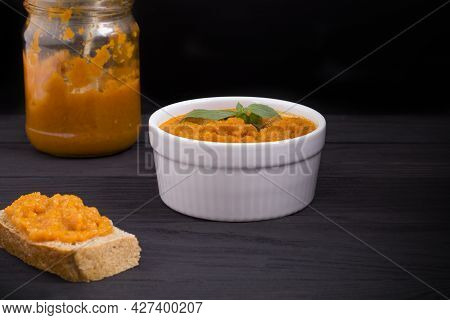 A Dish With Squash Caviar Decorated With Basil. Squash Spread, Zucchini Caviar And Ingredients. Heal