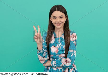Happy Kid Smile Gesturing V Sign Victory Hand Gesture Blue Background, Peace