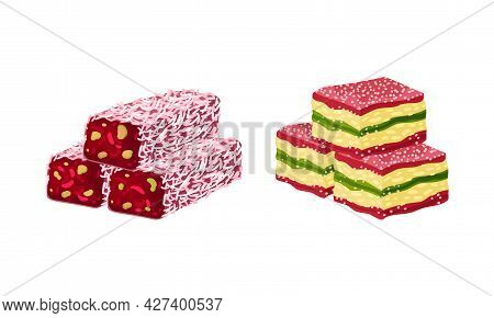 Turkish Delight Or Lokum As Arabic Sweet And Sugary Dessert Vector Set