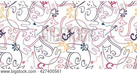 Seamless Pattern With Cat, Cat Paws Or Footprints, The Word Cat. Use For Cat Salons, Veterinary Clin