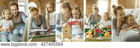 Collage Of Images Of Two People, Happy Mother And Daughter Playing, Sitting At Home, Indoors. Concep