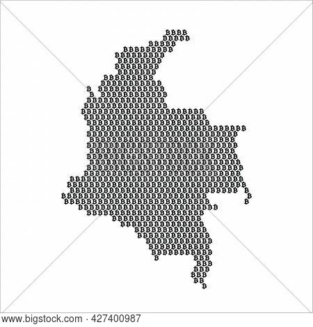 Colombia Country Map Made With Bitcoin Crypto Currency Logo